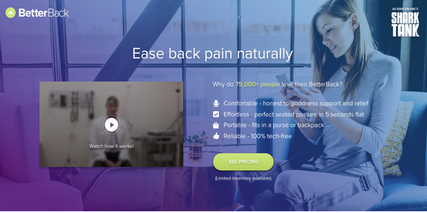 Screenshot of Better Back's website created by To the Tenth