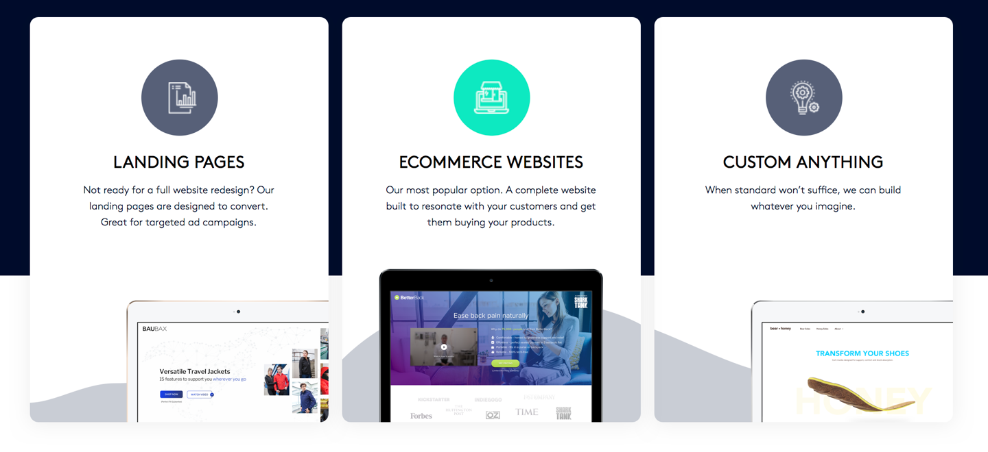 """Screenshot of To the Tenth's services including landing pages, eCommerce websites, and """"custom everything"""""""