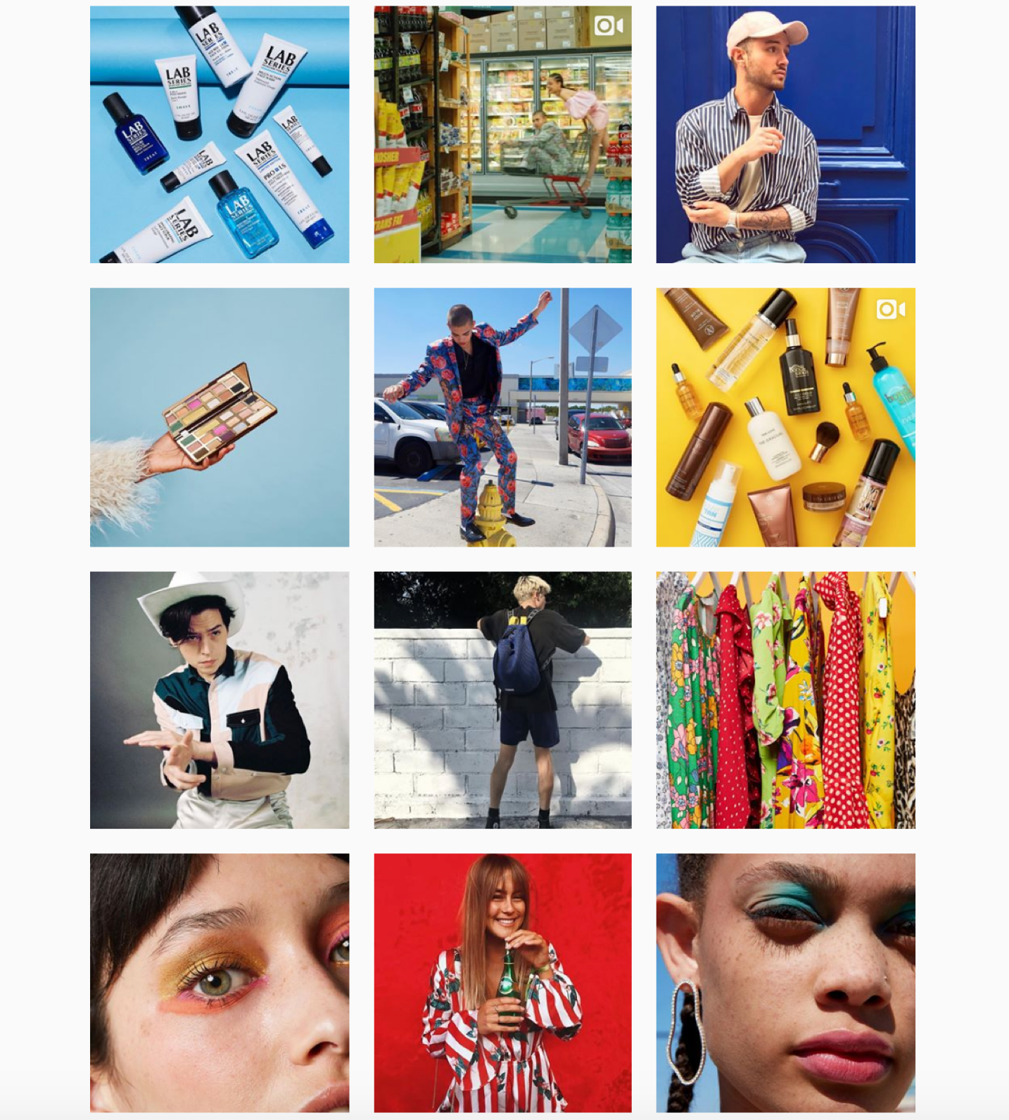 Screenshot of ASOS's colorful Instagram feed.