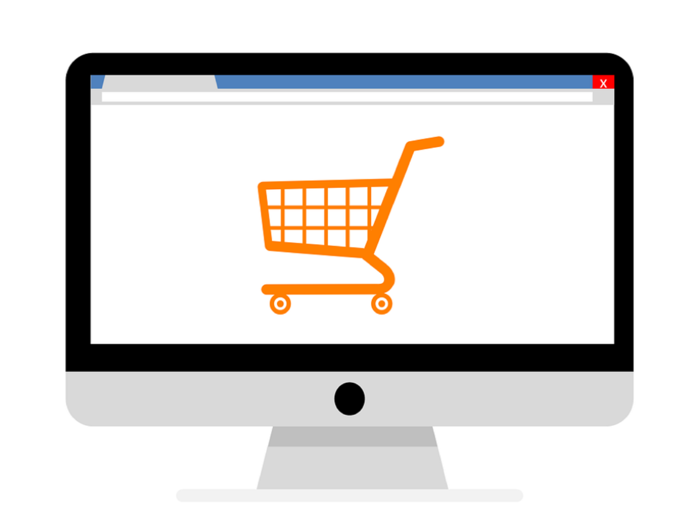 Illustration of shopping cart on computer screen