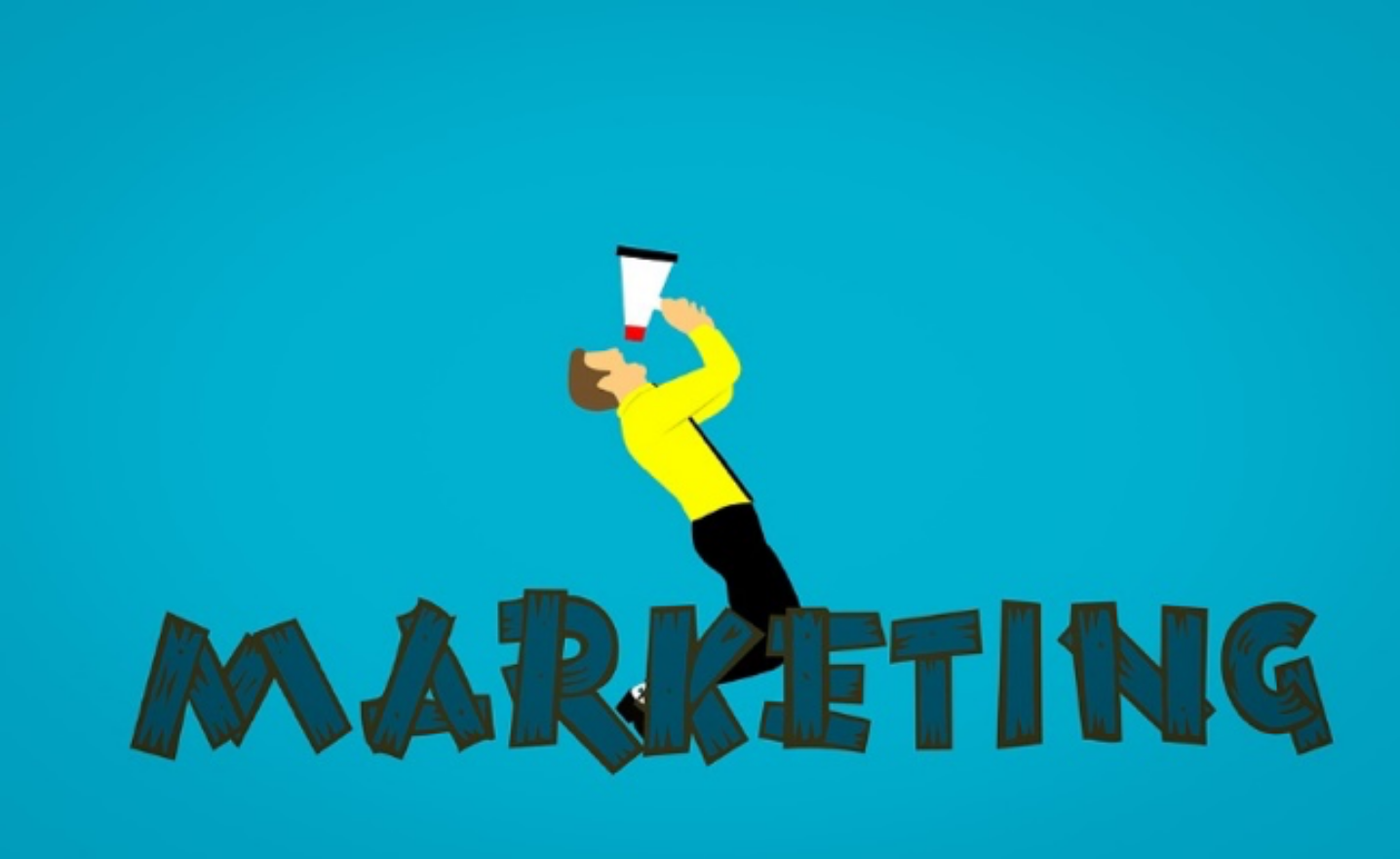 "Illustration that says ""marketing"" with person and loudspeaker on top of the words."