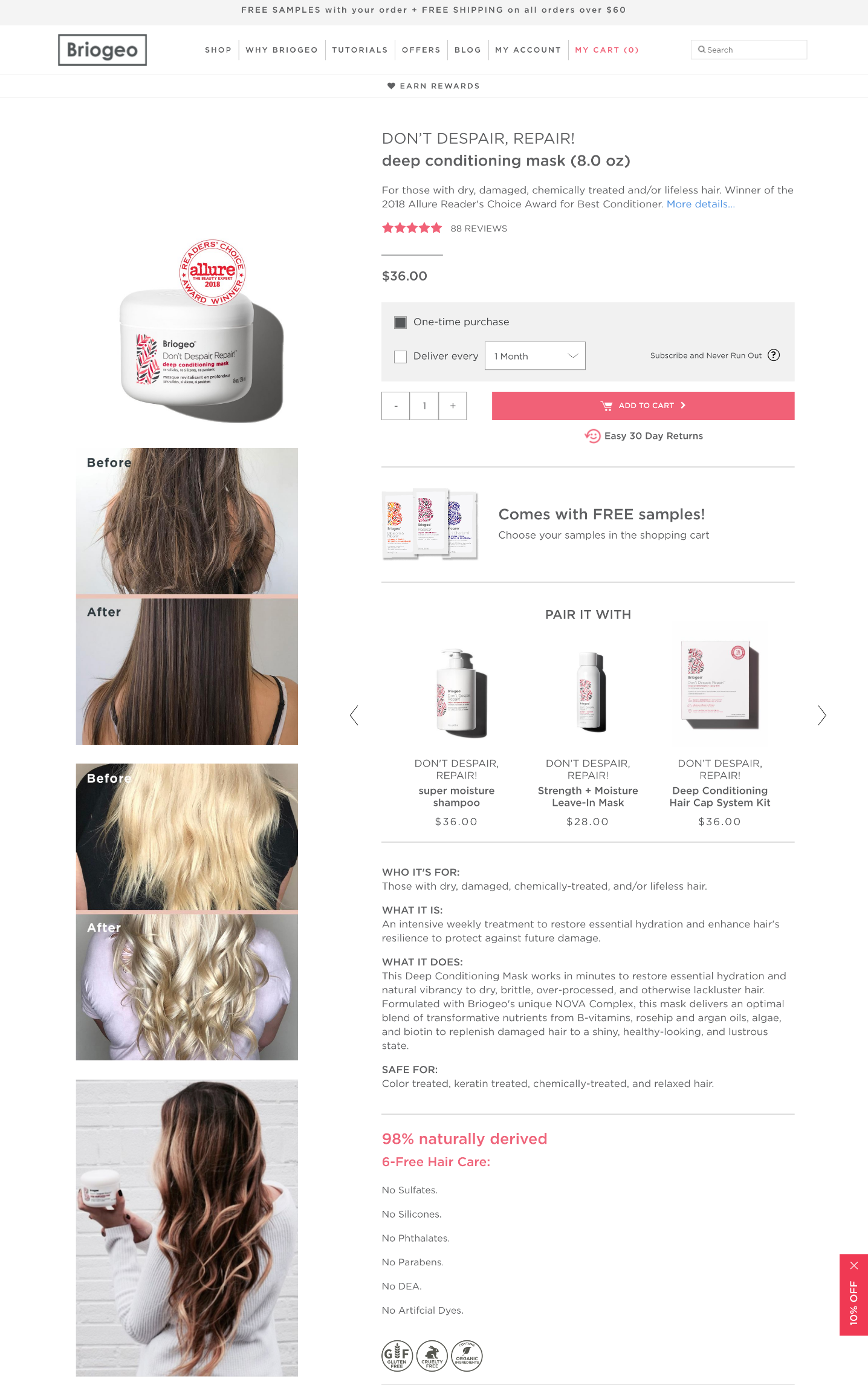 Briogeo product page created using Shogun