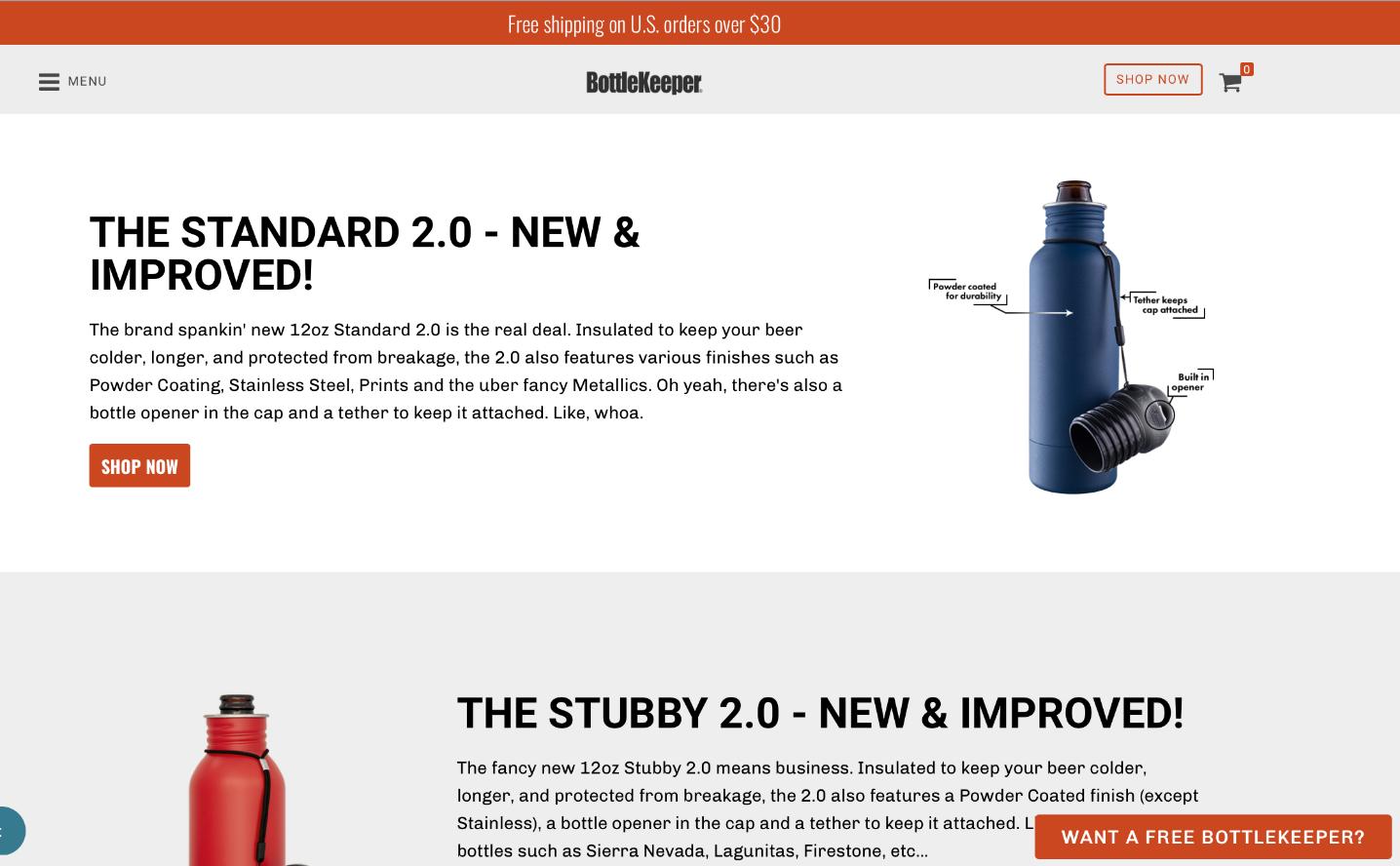 Screenshot of Growth Spark-designed Shopify site for BottleKeeper