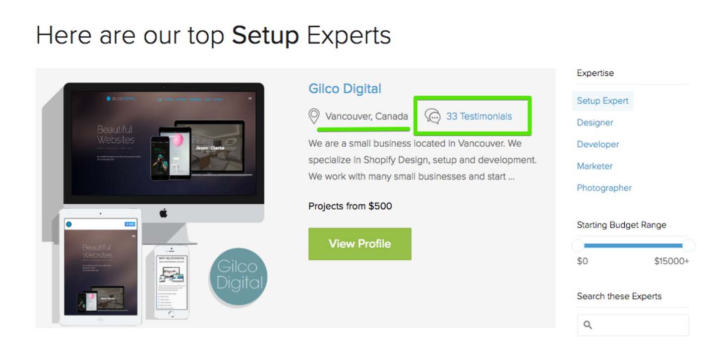 A screenshot of Shopify's website that shows the top Shopify Setup Experts