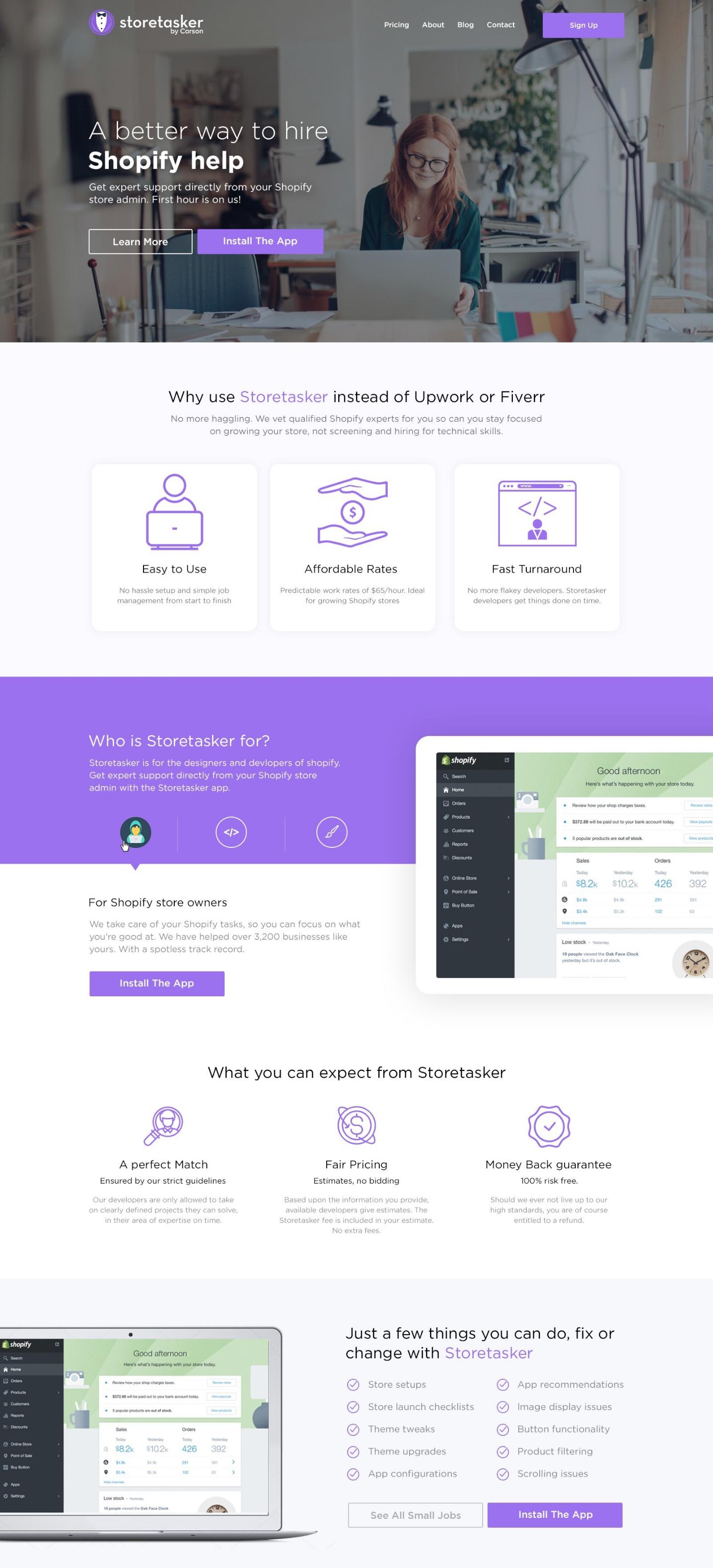 Screenshot of Storetasker's website and services