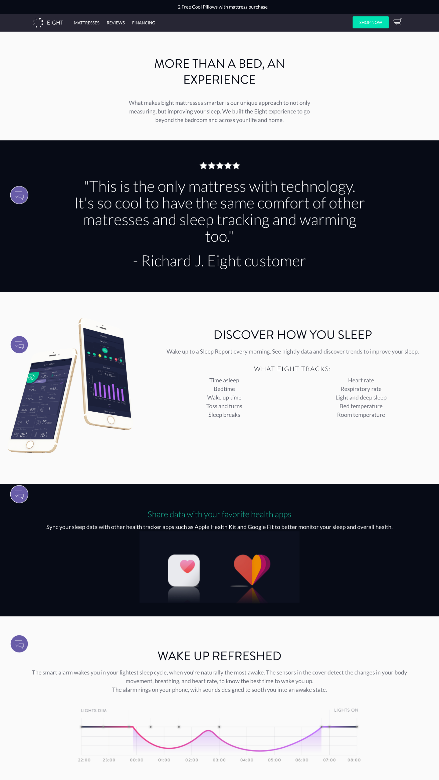 Screenshot of Sleep Eight's features page created with Shogun