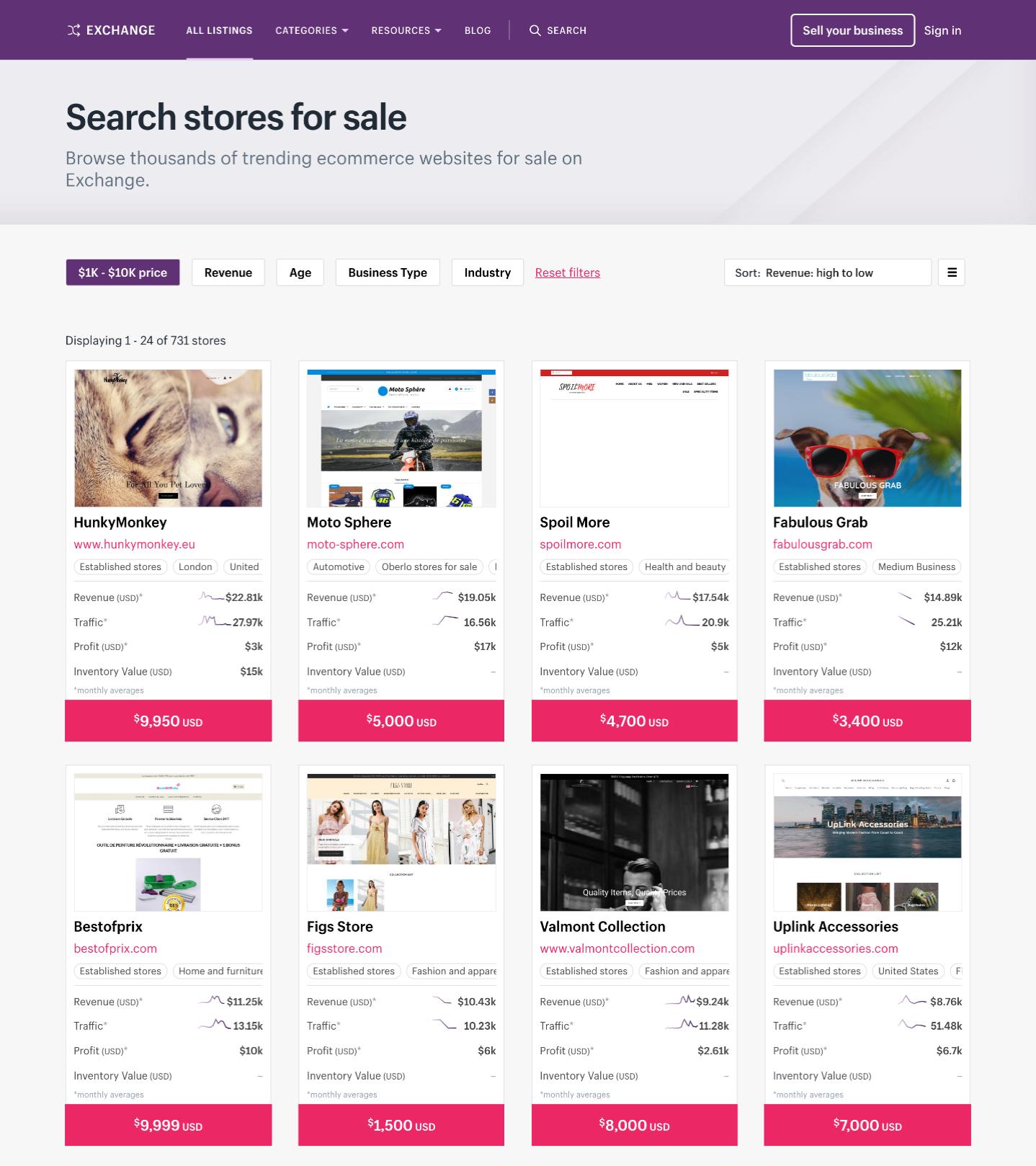 Screenshot of Shopify exchange