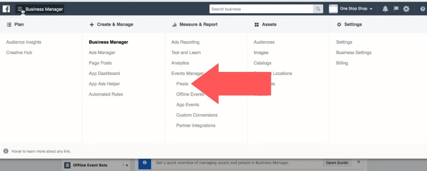 """Select the """"Pixels"""" option in the """"Measure & Report"""" section"""