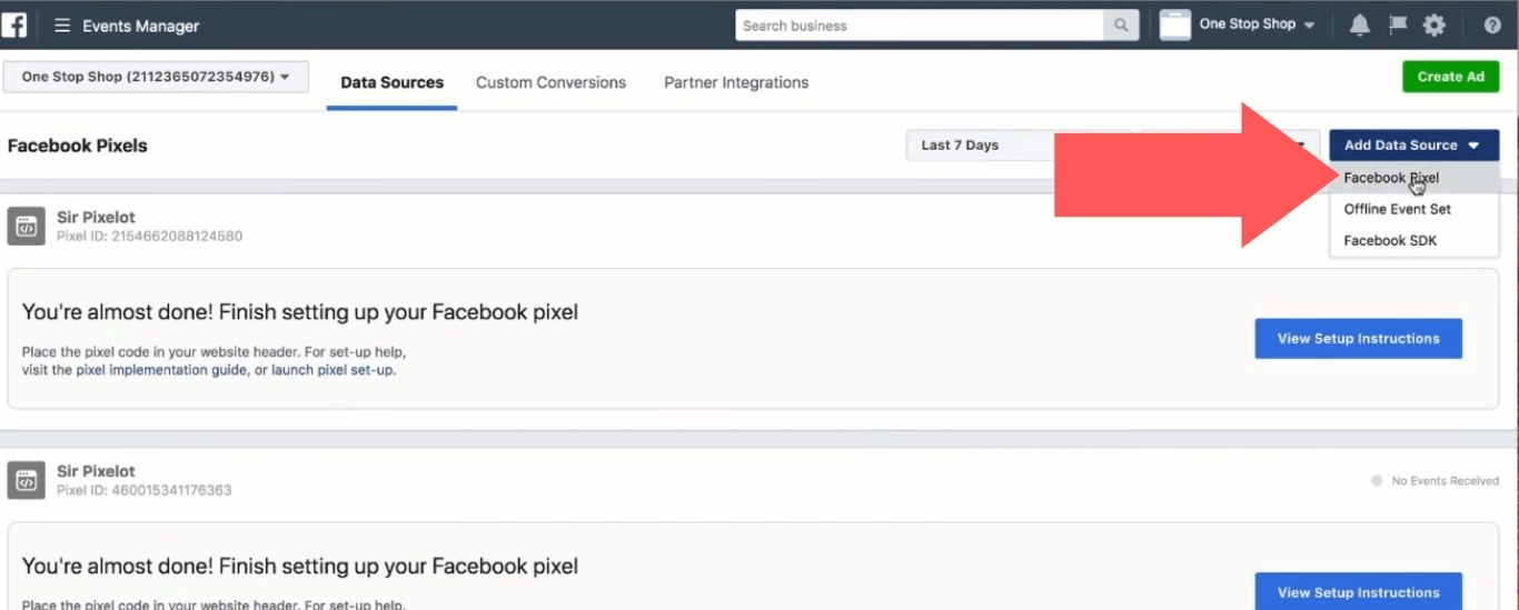 """Open the """"Add Data Source"""" menu and select """"Facebook Pixel"""""""