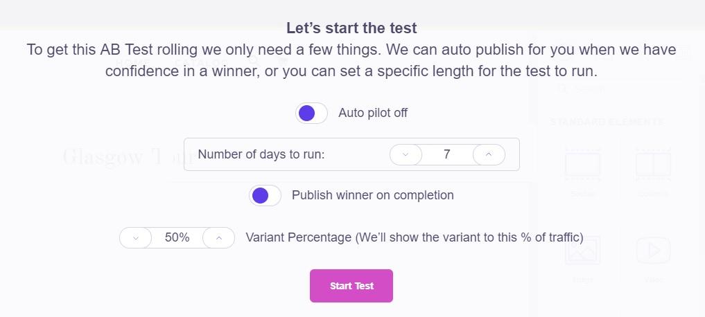 Shogun AB test options
