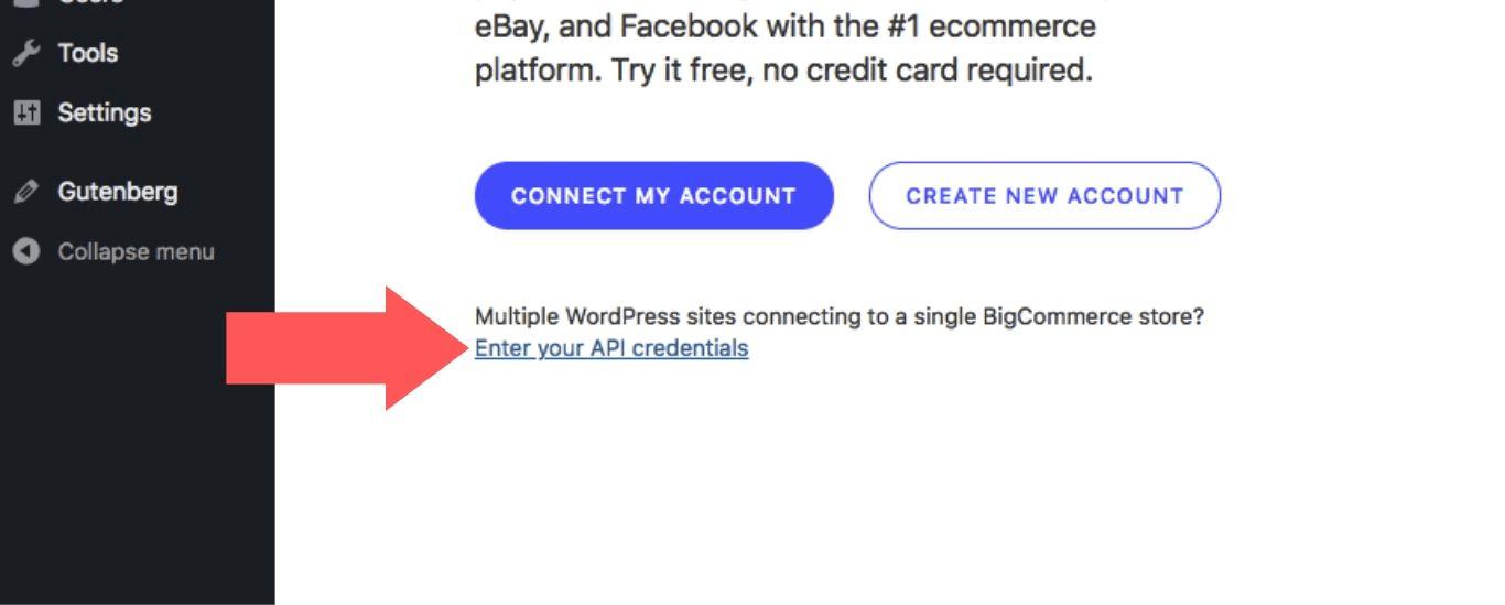 """Select """"Enter your API credentials"""""""