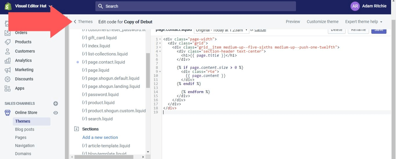 """Select """"Themes"""" to back out of the Liquid code editor"""
