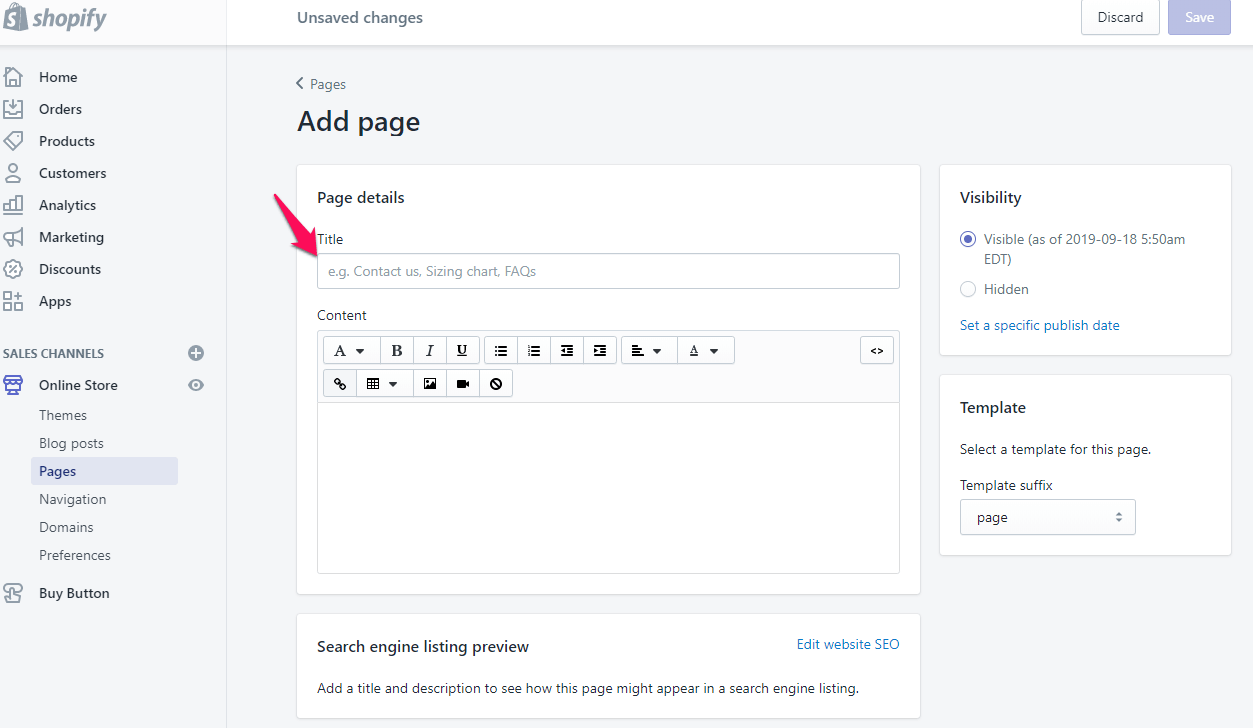 add page on shopify step 4