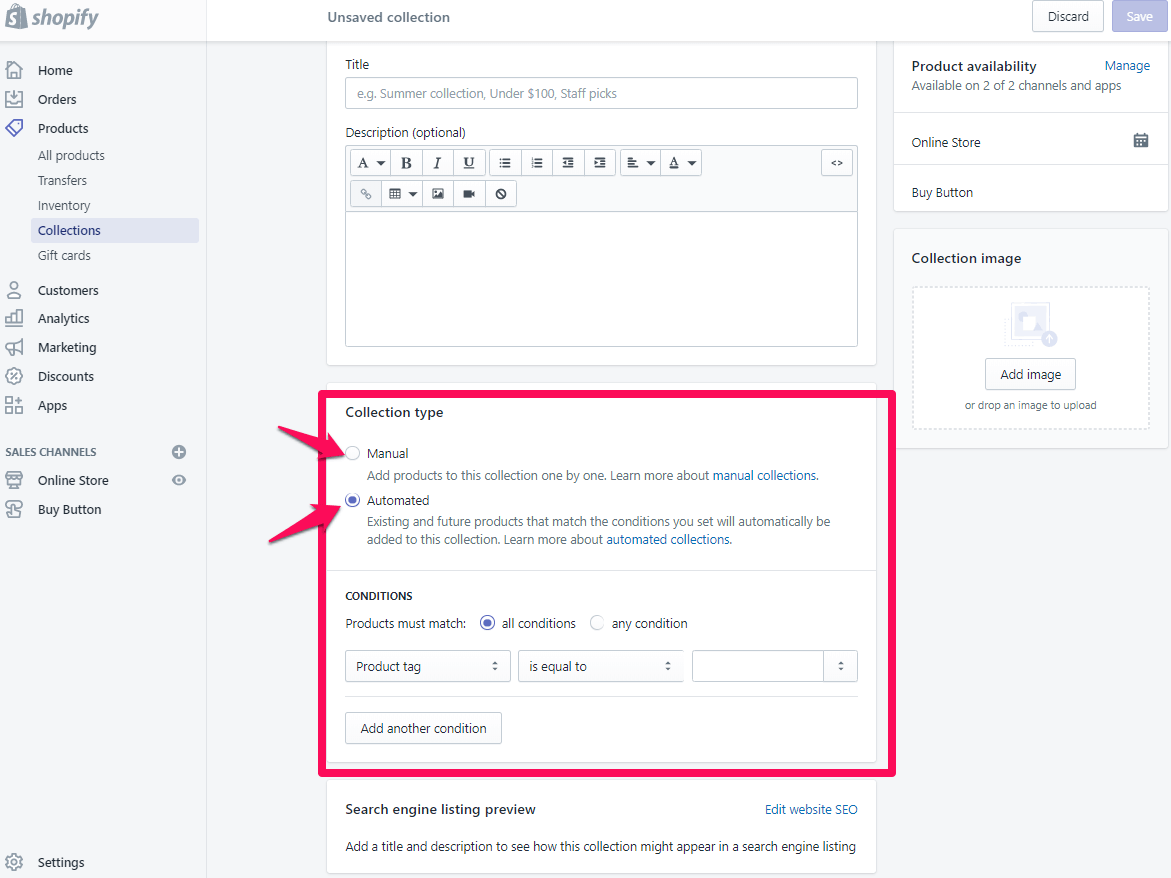 add collections page shopify step 5