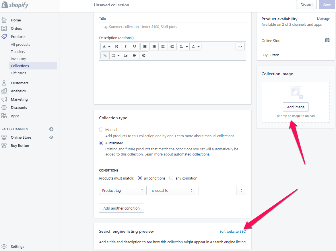 add collections page shopify step 6