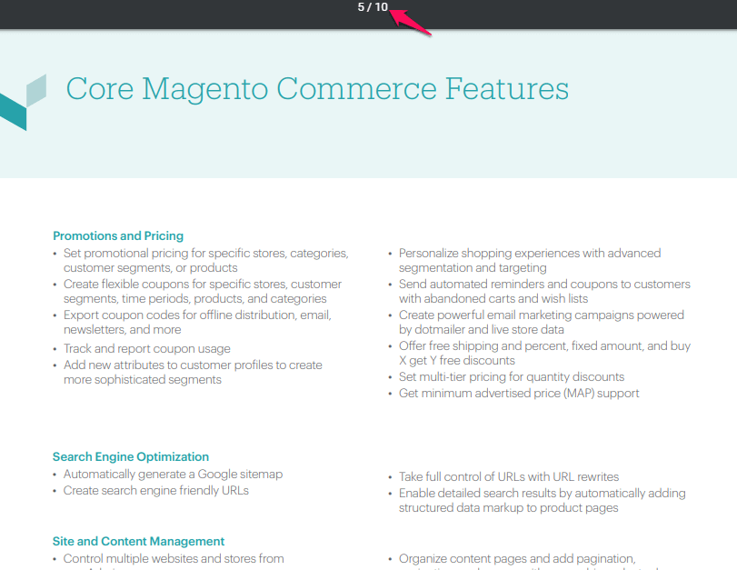 magento review magento commerce feature list