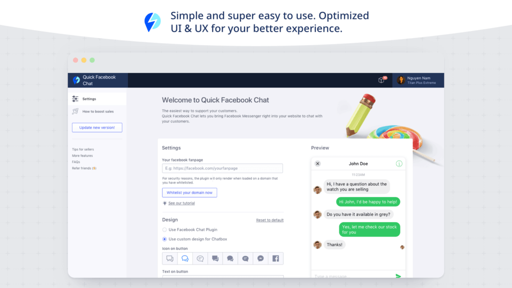 Quick Facebook Chat by Beeketing