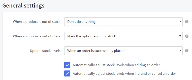Go to Advanced Settings > Inventory