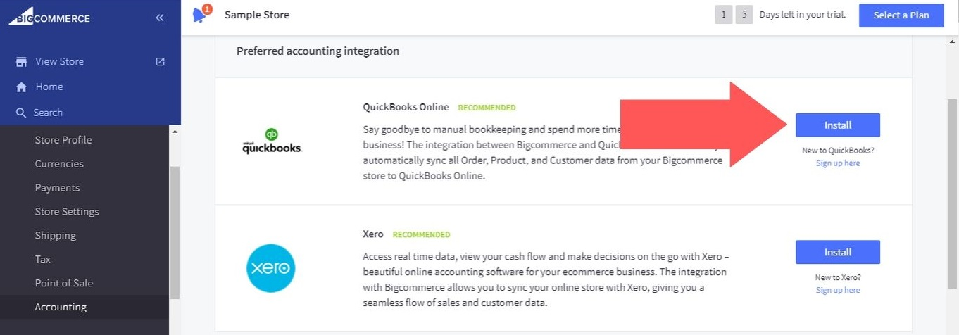 """Click on the """"Install"""" button next to """"QuickBooks Online"""""""