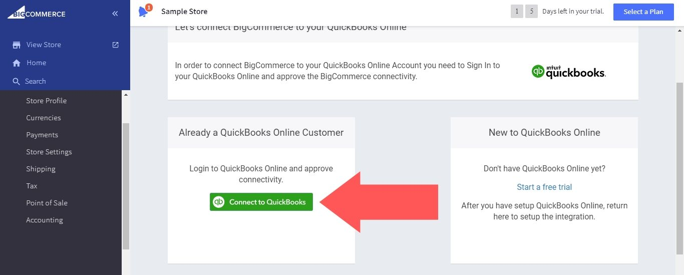 """Select """"Connect to QuickBooks"""" (if you don't have a QuickBooks Online account, you can sign up for a free trial through this page)"""