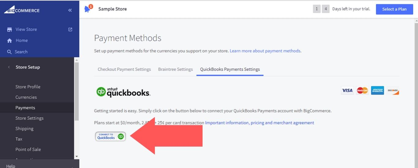 """Click on the """"Connect to QuickBooks"""" button"""