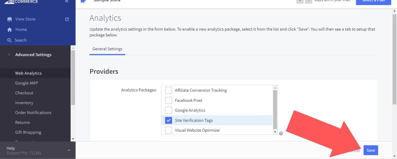 """Site Verification Tags"" option and select ""Save"""