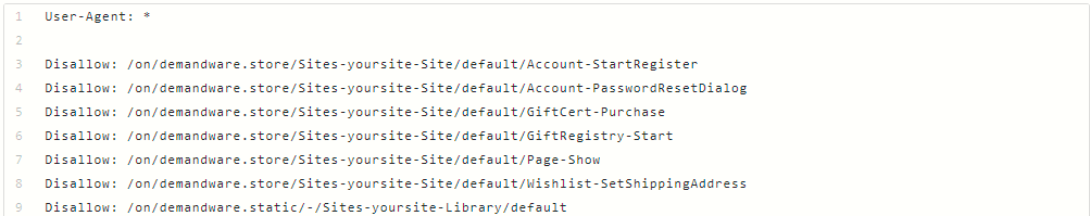 """Use the robots.txt file on your site and use the """"noindexing"""" and """"disallow"""" tags for /demandware.store/ and /demandware.static/ urls that you don't want indexed"""
