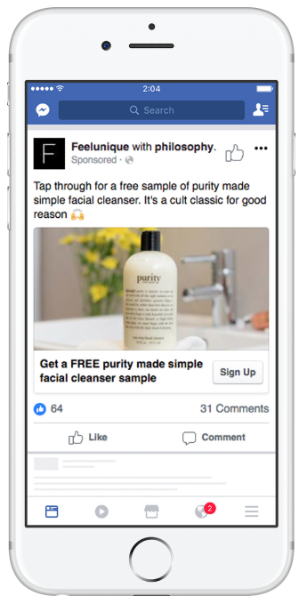 The beauty brand philosophy shares a Facebook ad