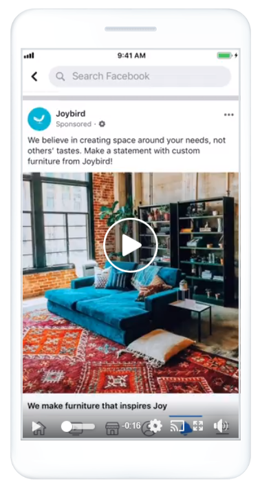 Joybird, a direct-to-consumer furniture retailer, Facebook ad