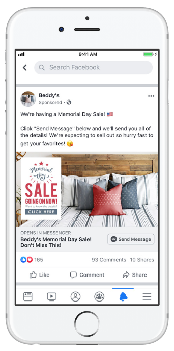 bedding retailer Beddy's Facebook ad