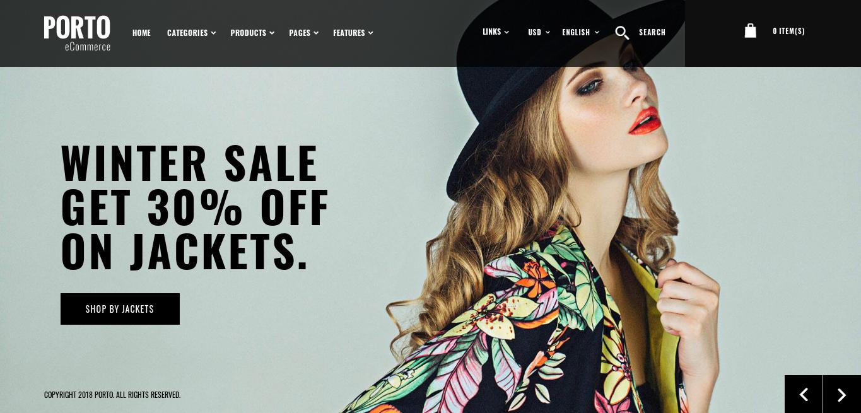 porto theme homepage