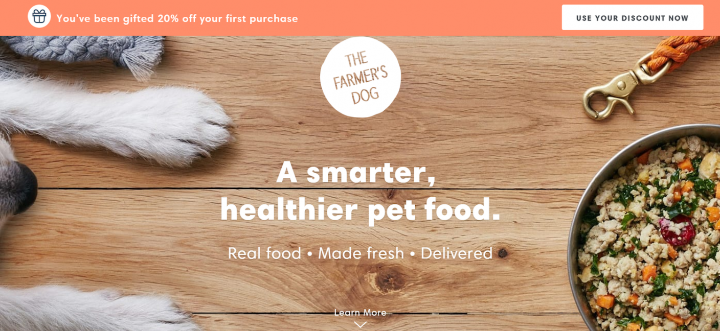 The Farmer's Dog landing page