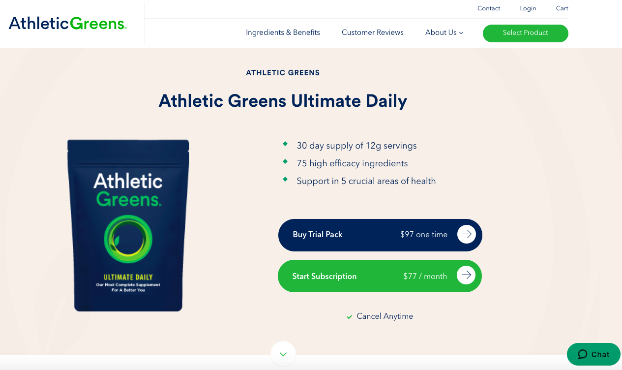 AthleticGreens landing page using contrasting colors