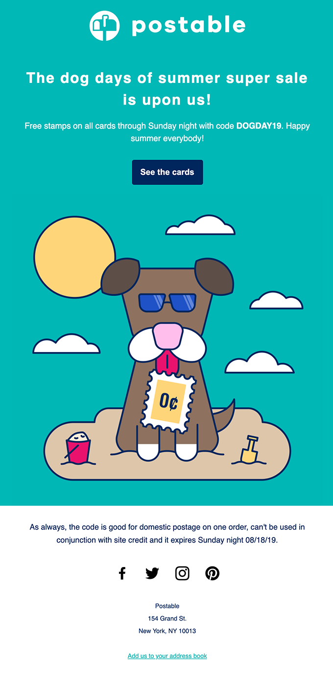 example of a postable email with a cartoon dog