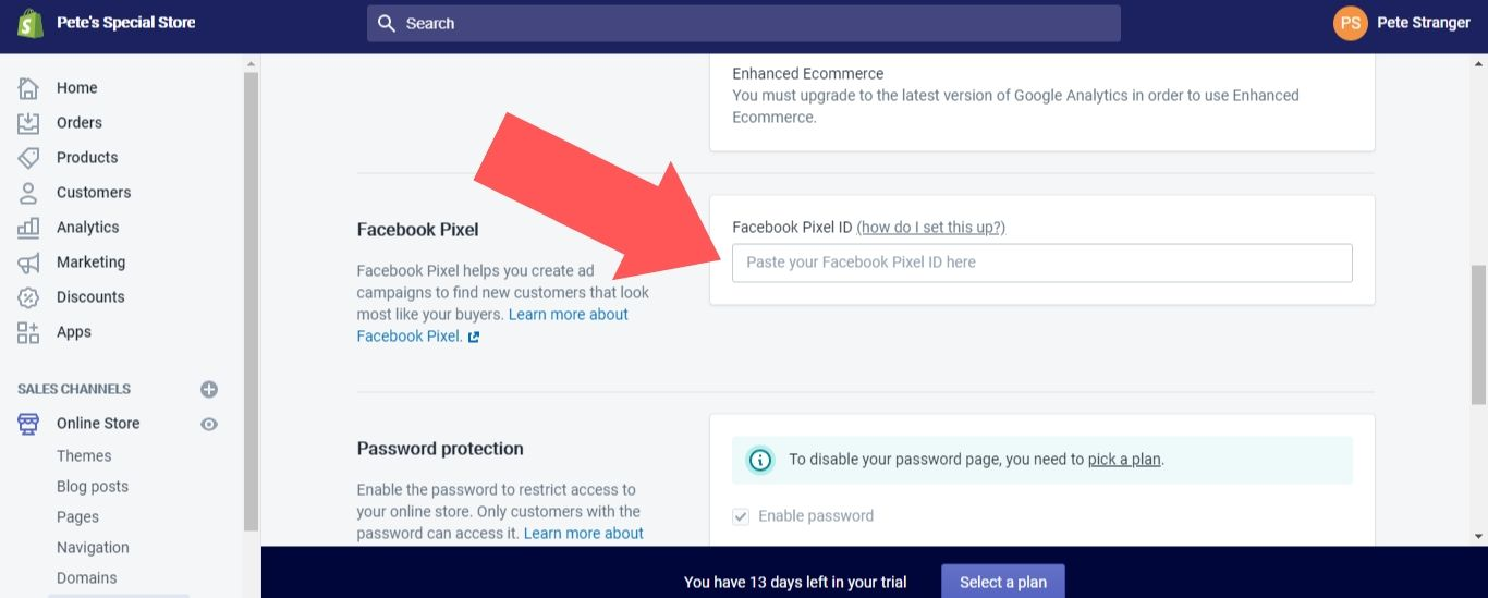 """In the """"Facebook Pixel ID"""" field, enter your Pixel ID"""