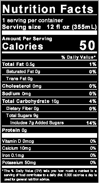 Buchi Shrub Soda nutrition facts