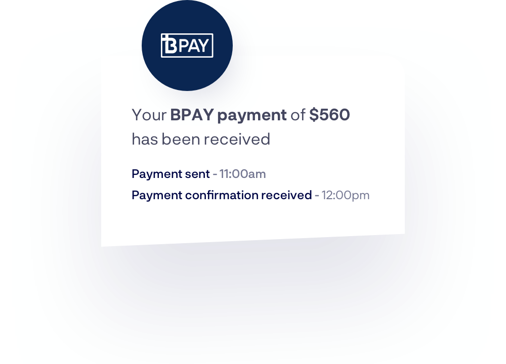 Funds have been received via BPAY