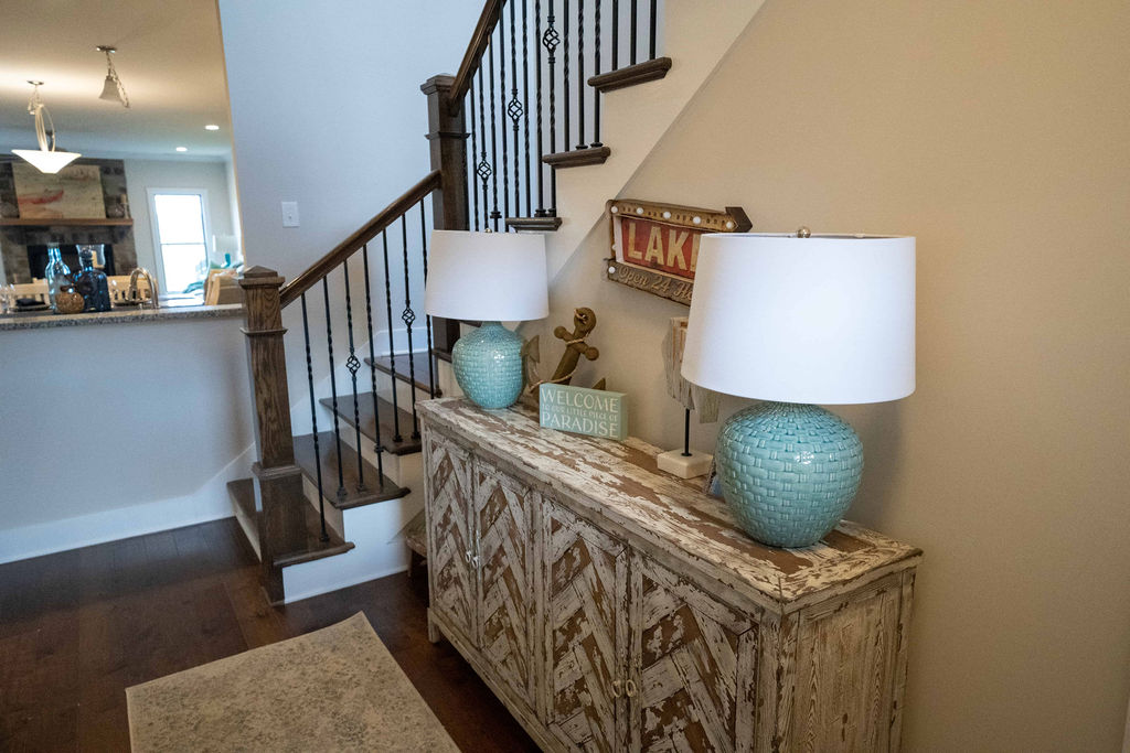 Decorated sideboard inside lake villa townhome