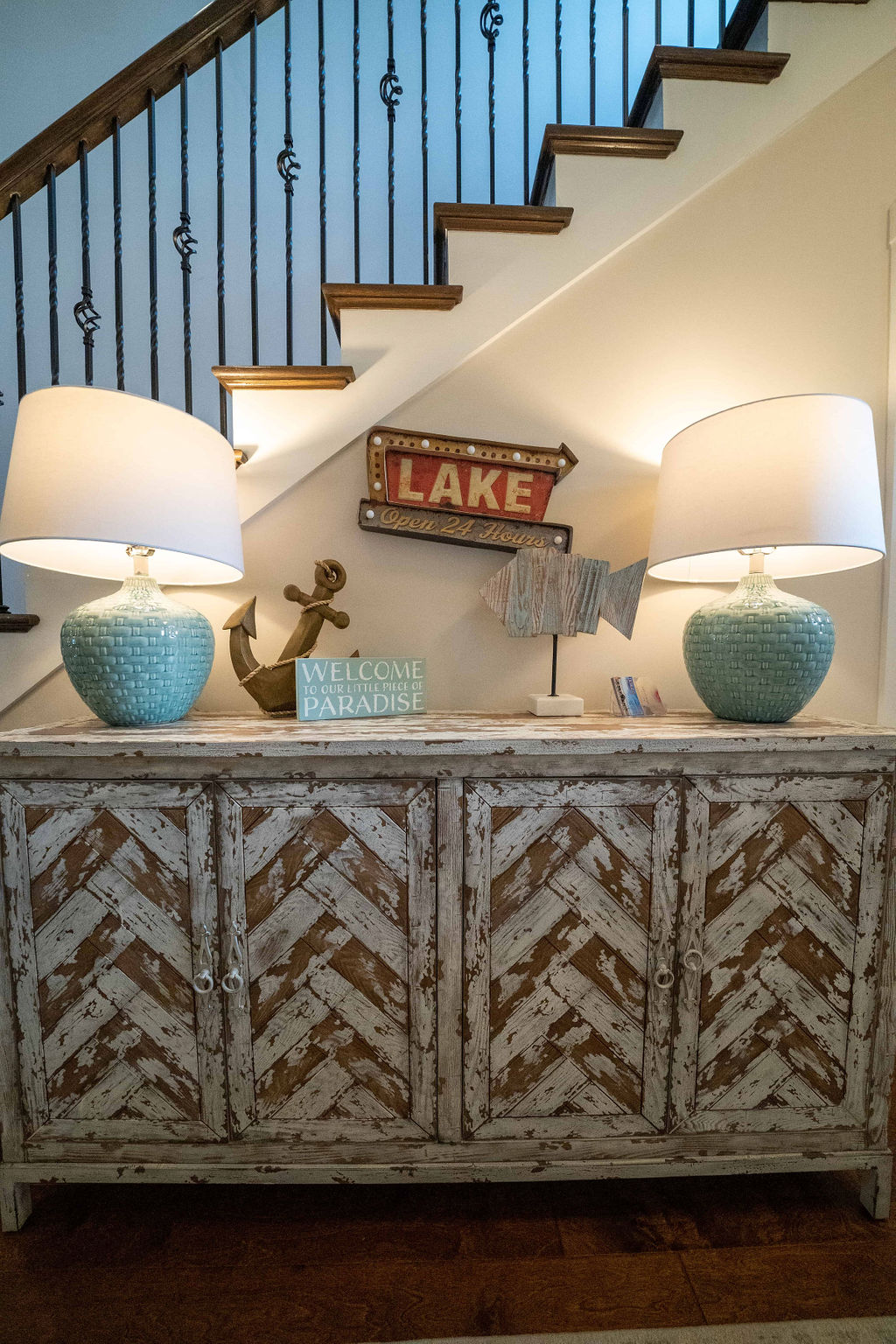 Straight-on view of sideboard in lake villa town house