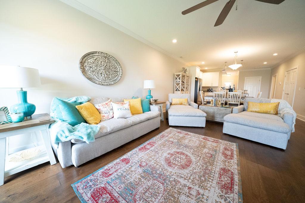 Living room furniture set in lake villa town house