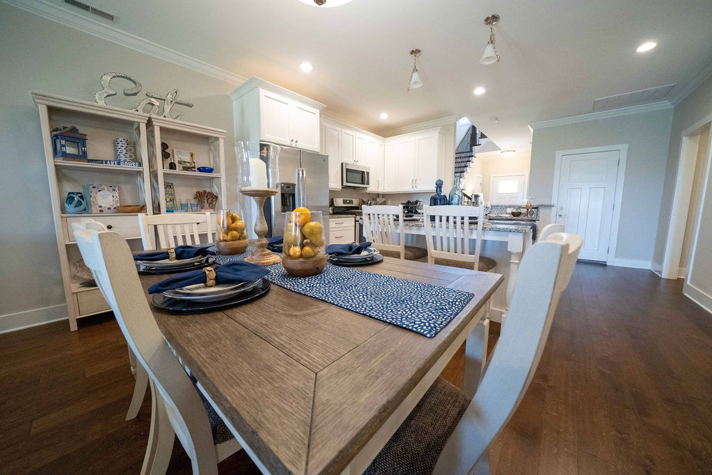 Dining table in lake villa at Twin Creeks Village