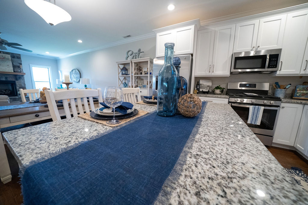 Decorated kitchen counter in town house
