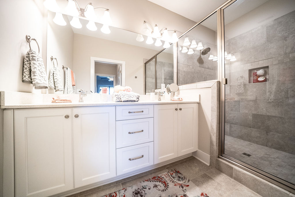 Contemporary double vanity bathroom sink and shower