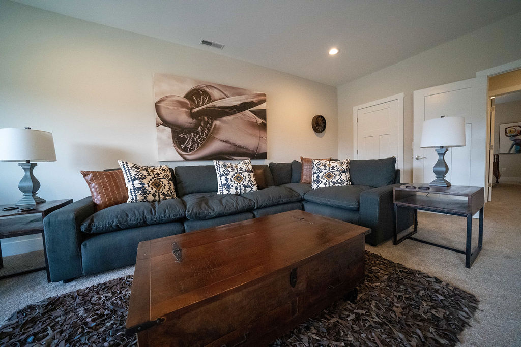 L-shaped couch and coffee table