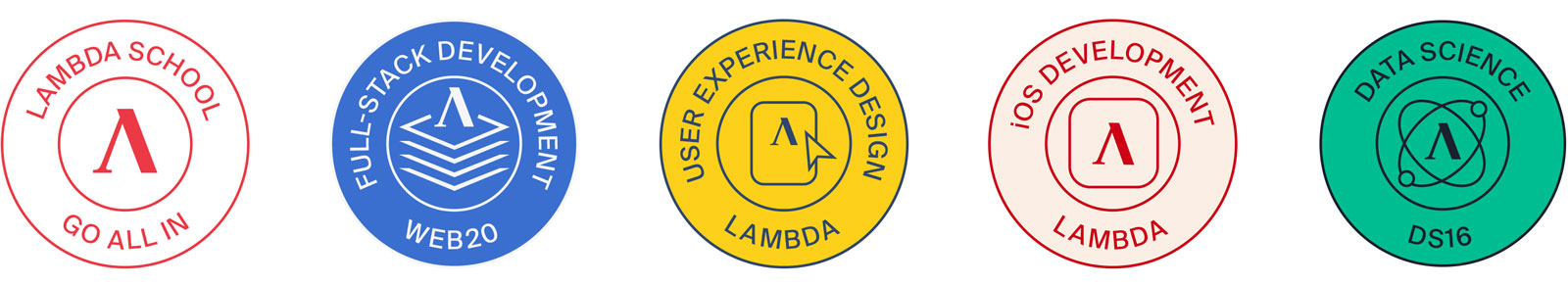 Lambda School's course stamps.