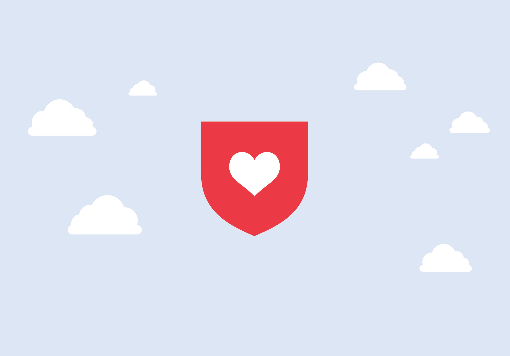 a heart in a red shield against a background of clouds