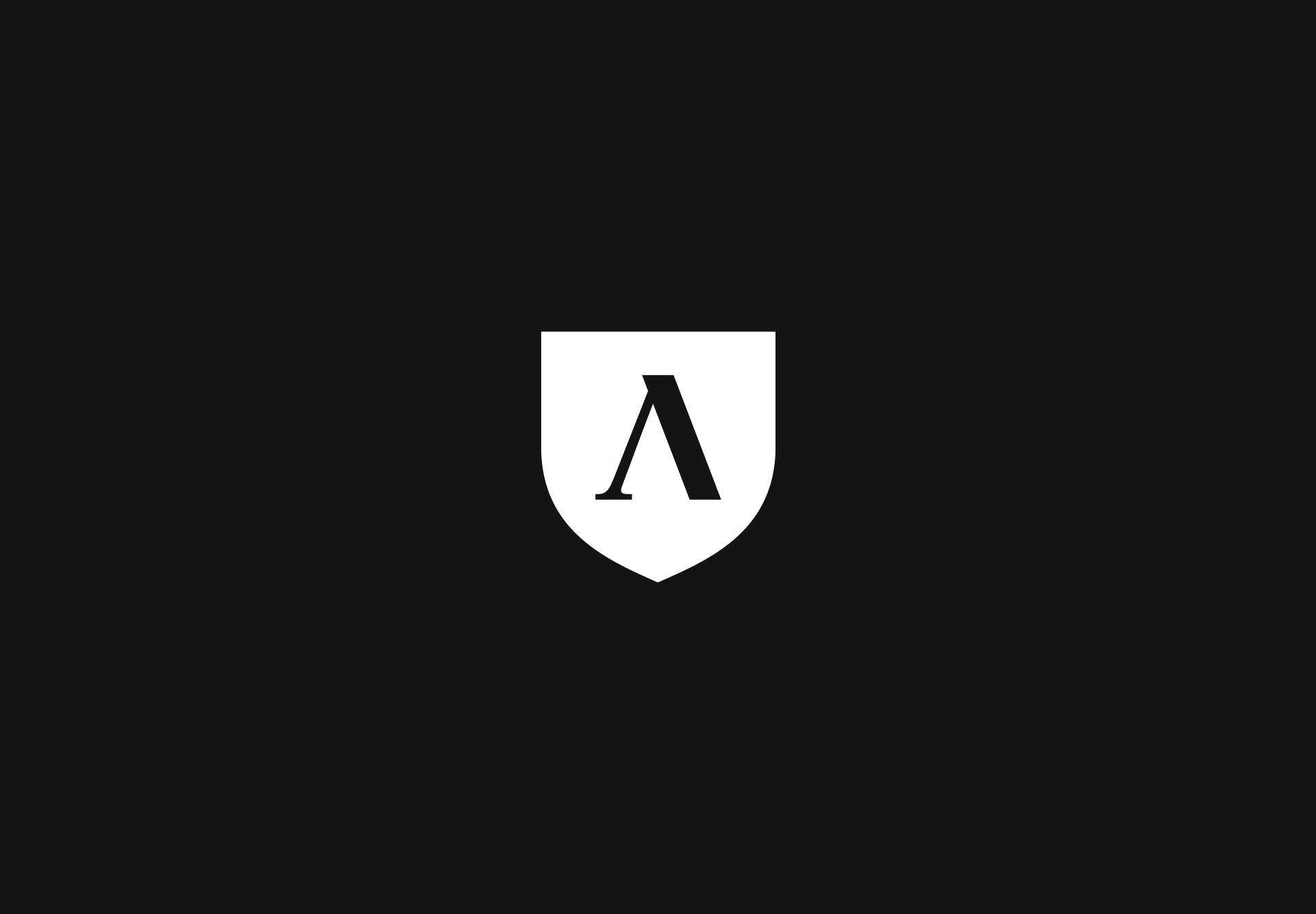 white lambda logo on black