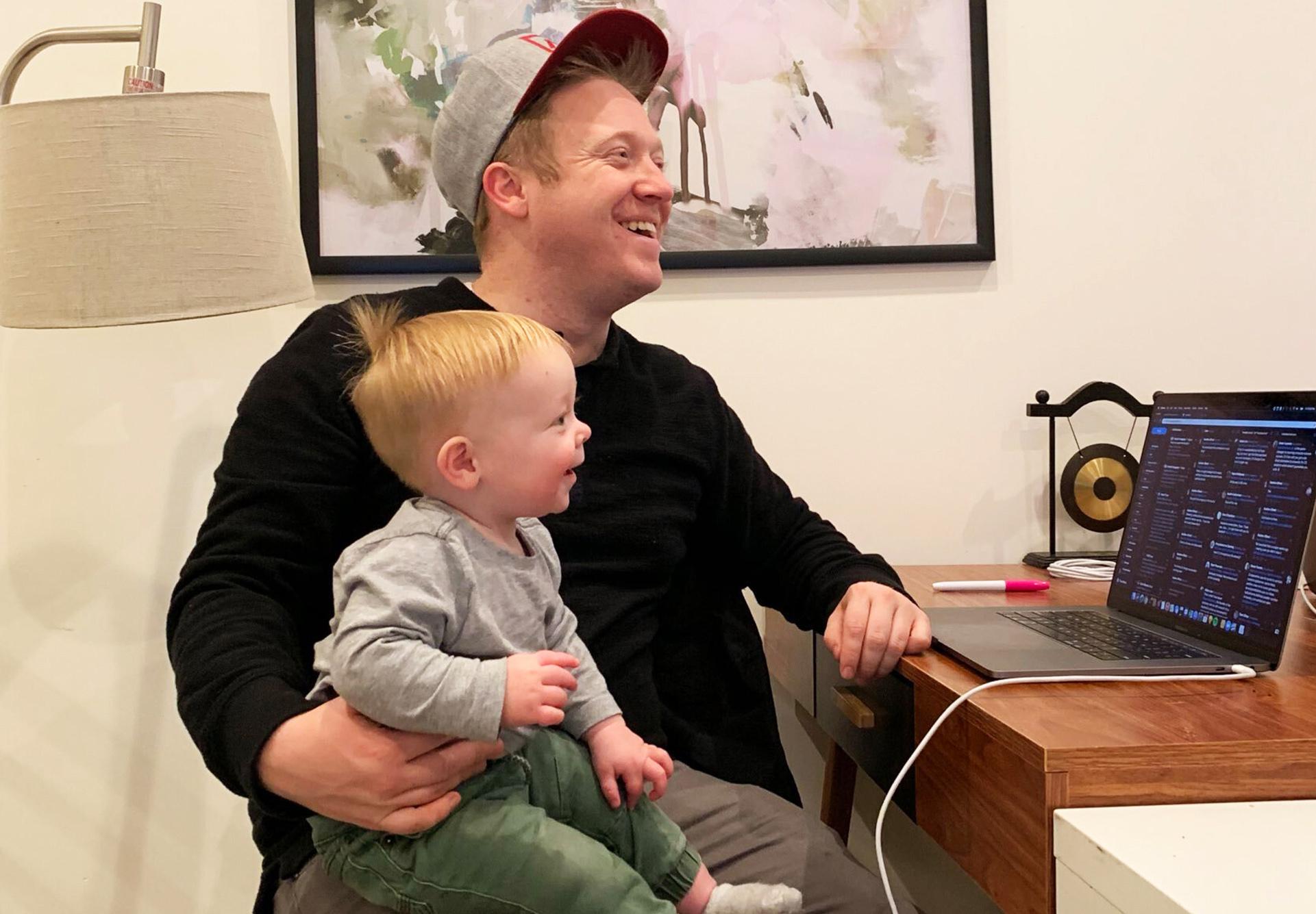 Austen Allred with son