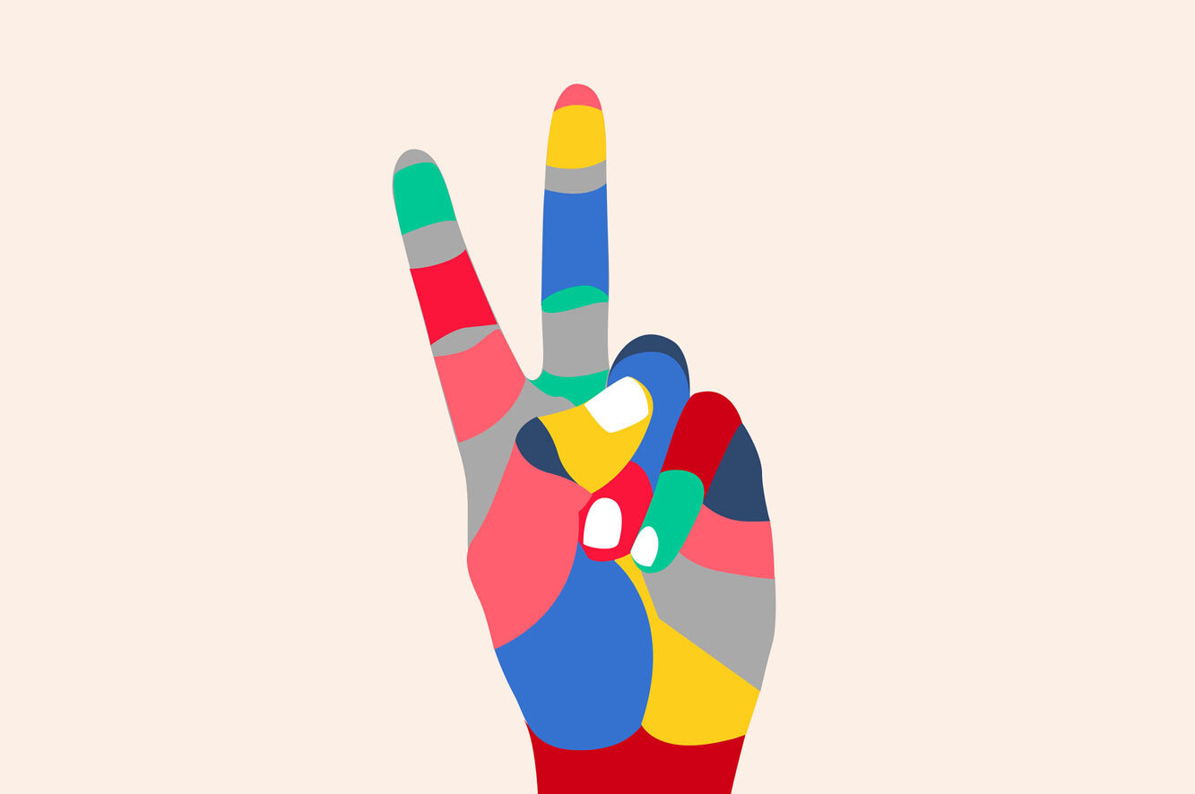 cartoon of colorful hand