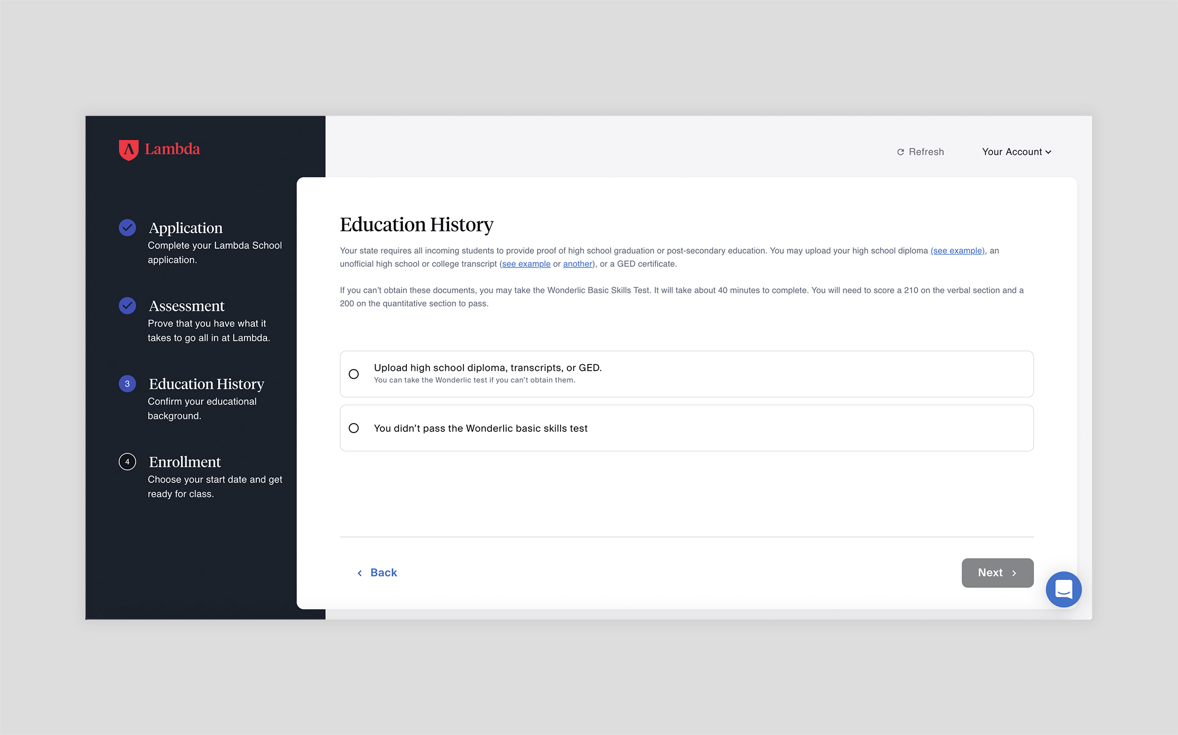 upload your education history